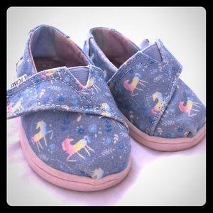 Unicorn Toms 4t, EUC. Slip on sneakers, EUC.